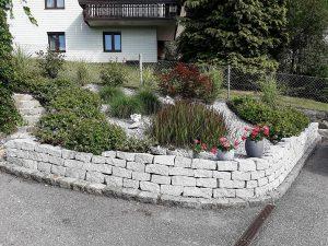 Steinbeet bepflanzt